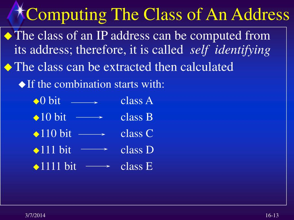 Computing The Class of An Address