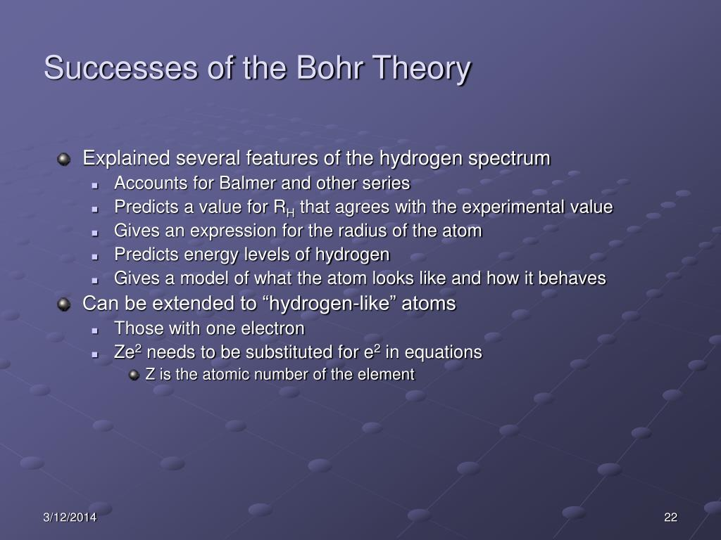 Successes of the Bohr Theory
