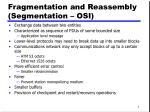 fragmentation and reassembly segmentation osi
