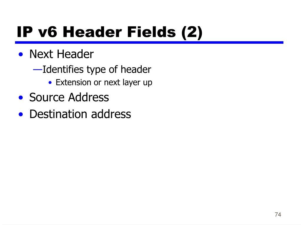 IP v6 Header Fields (2)