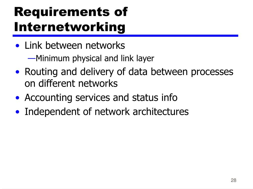 Requirements of Internetworking