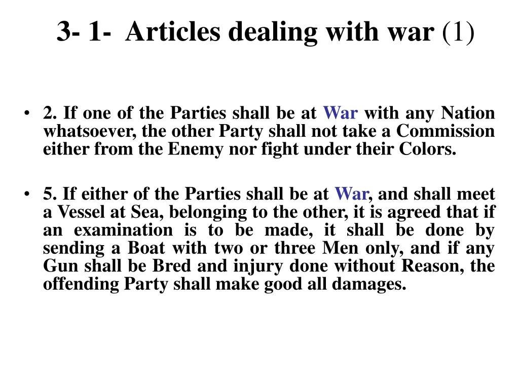 3- 1-  Articles dealing with war