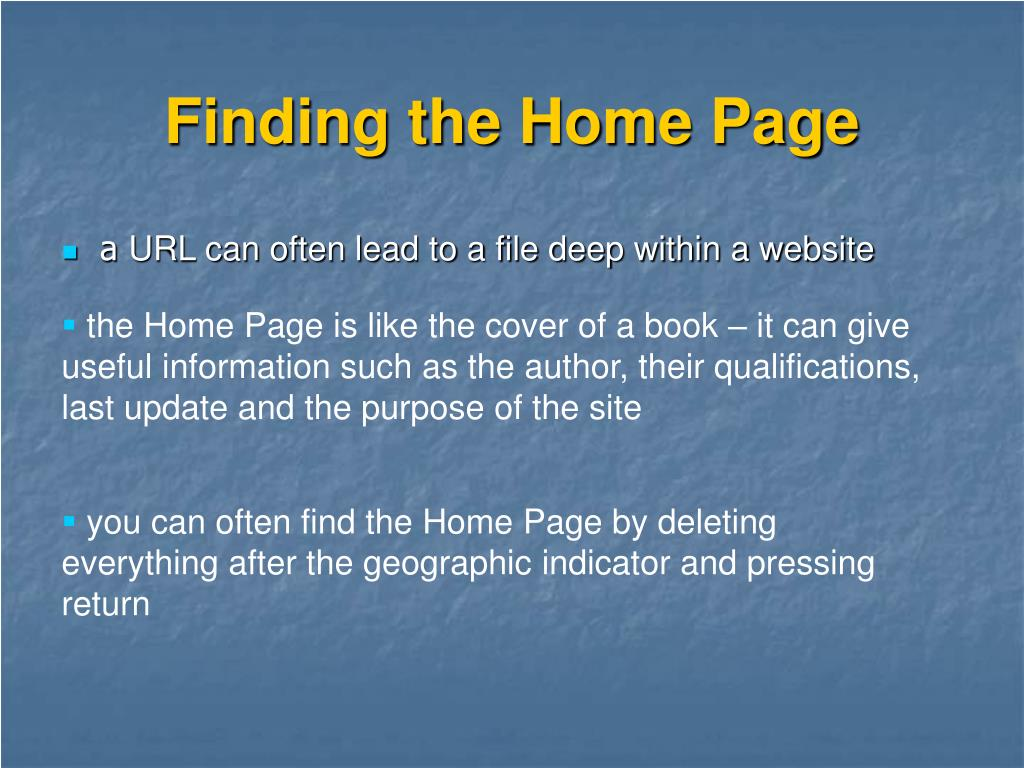 Finding the Home Page