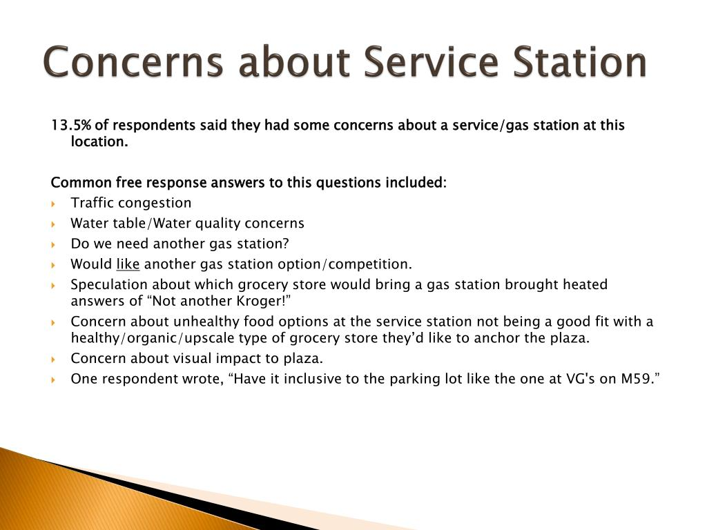 Concerns about Service Station