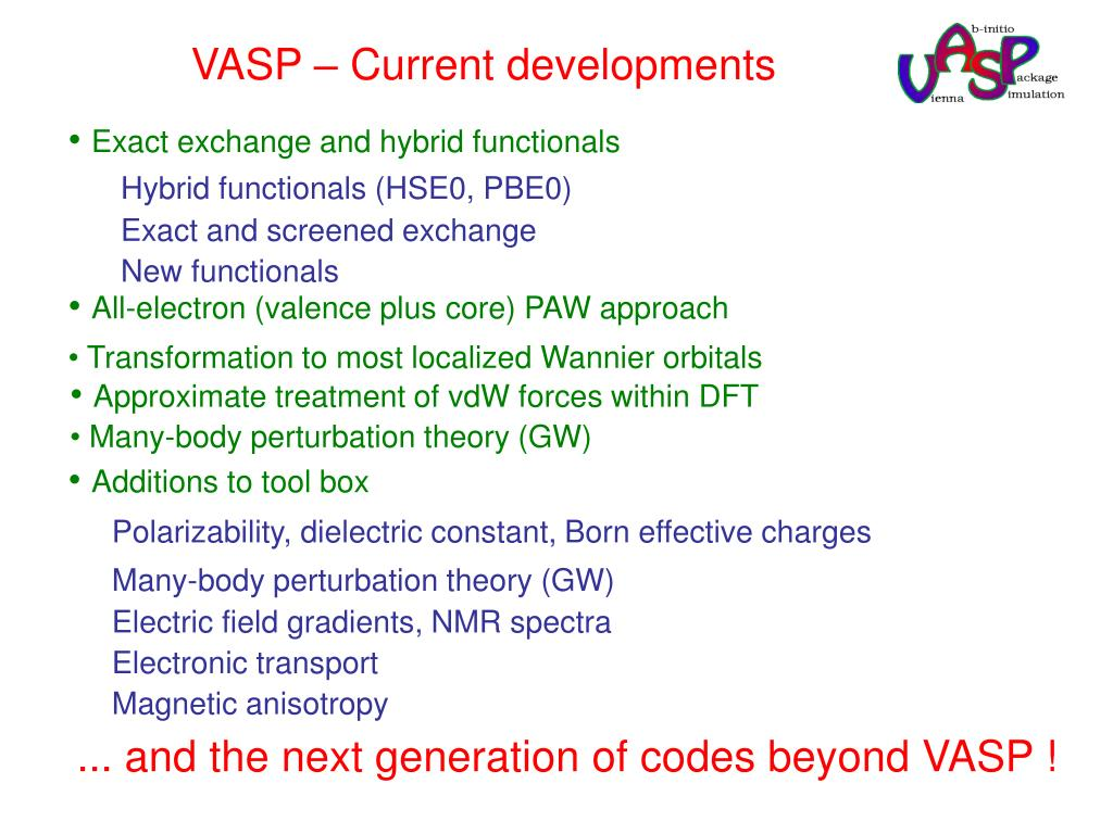 VASP – Current developments