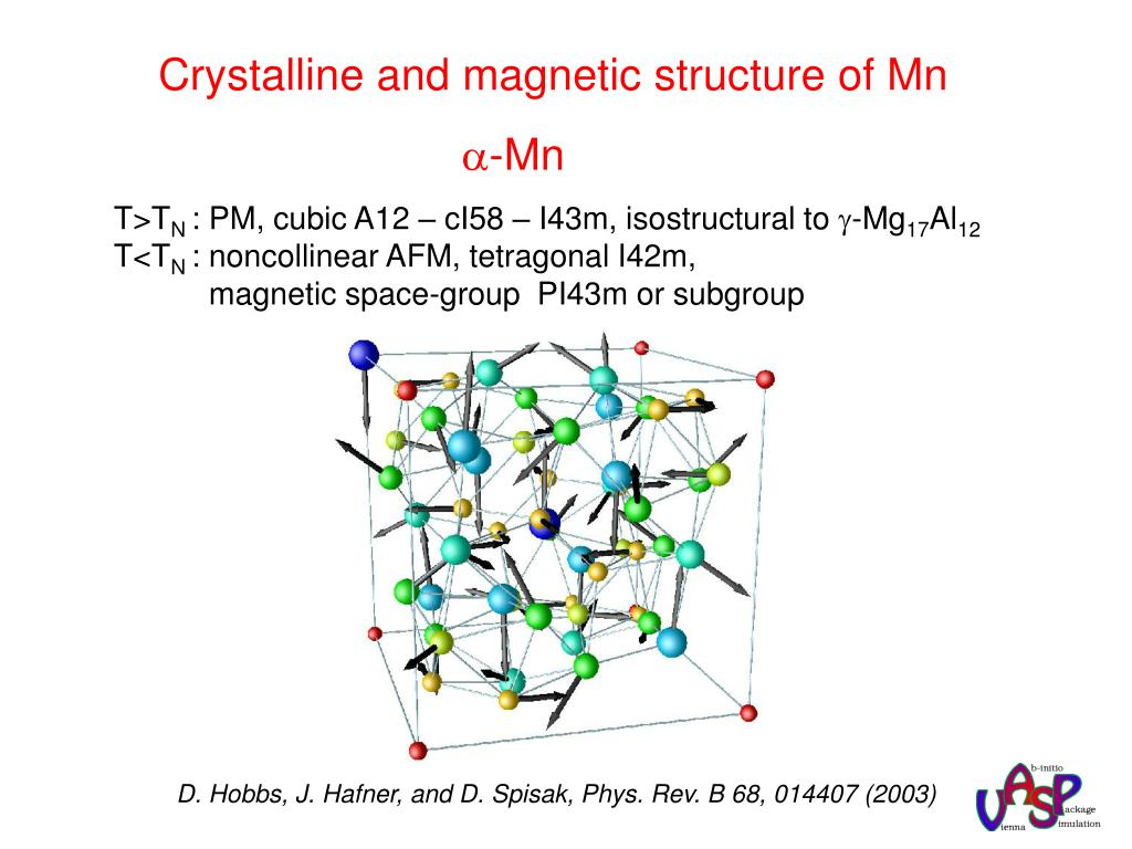 Crystalline and magnetic structure of Mn