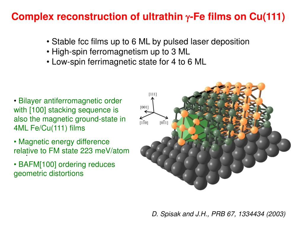 Complex reconstruction of ultrathin