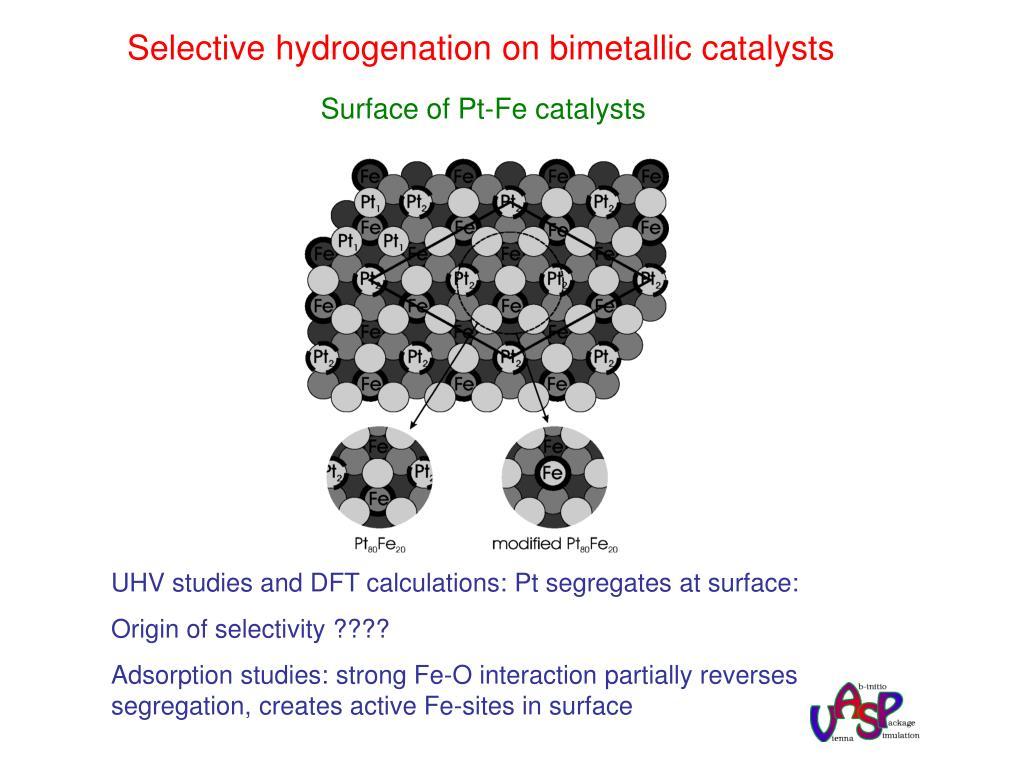 Selective hydrogenation on bimetallic catalysts