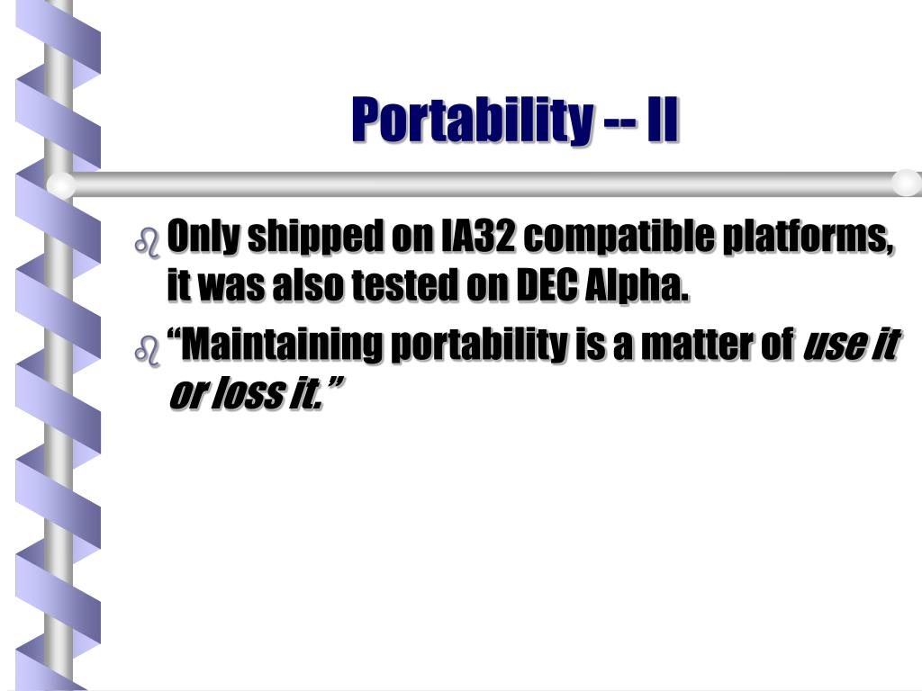 Portability -- II