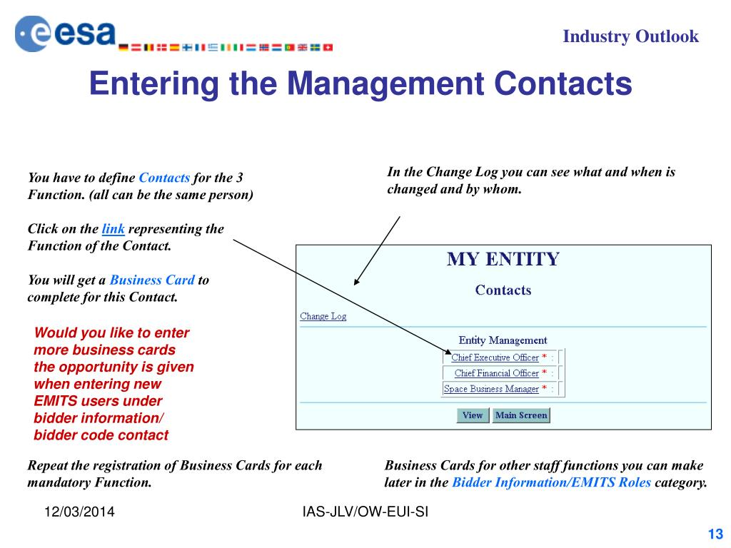 Entering the Management Contacts
