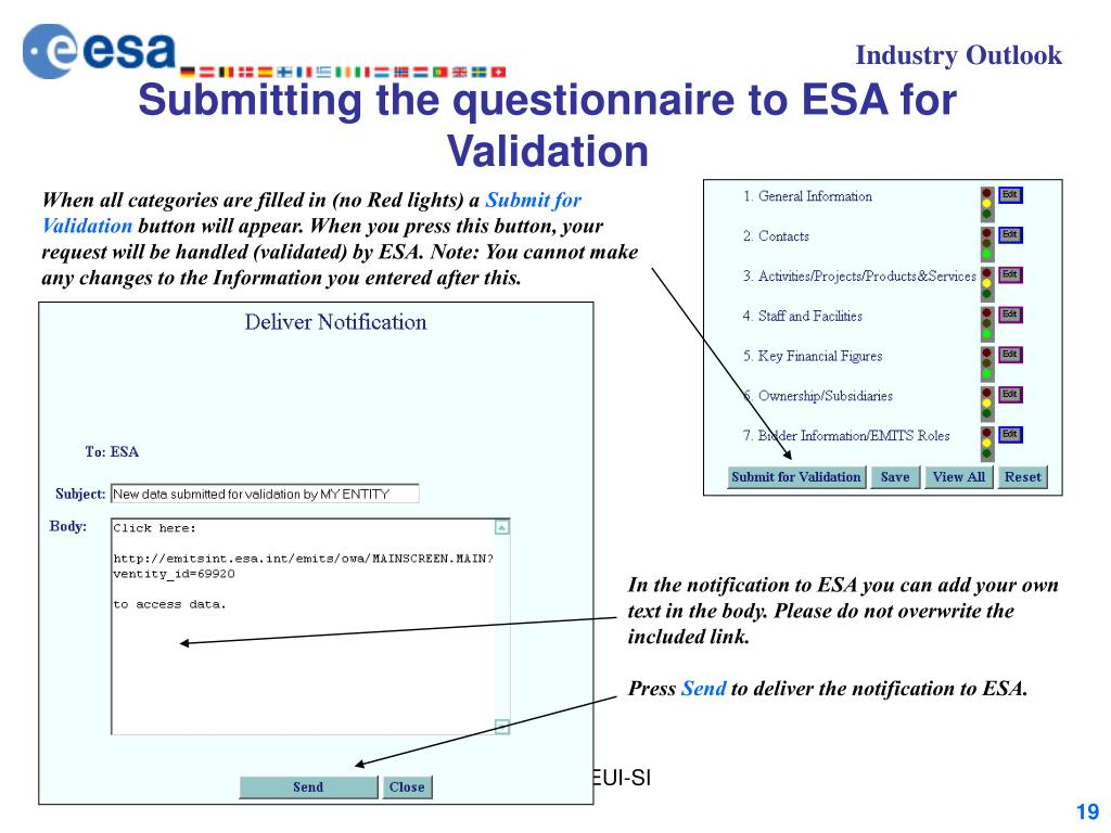 Submitting the questionnaire to ESA for Validation