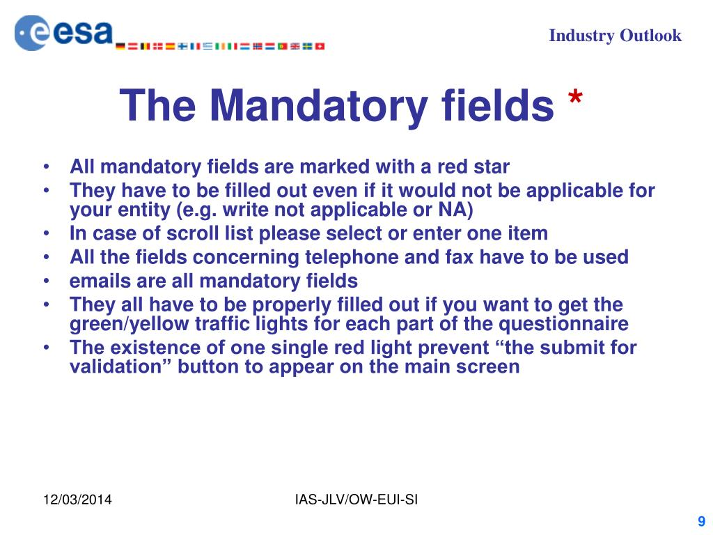 The Mandatory fields