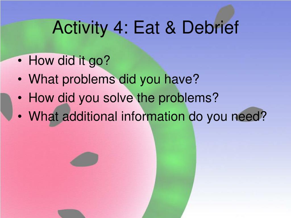 Activity 4: Eat & Debrief