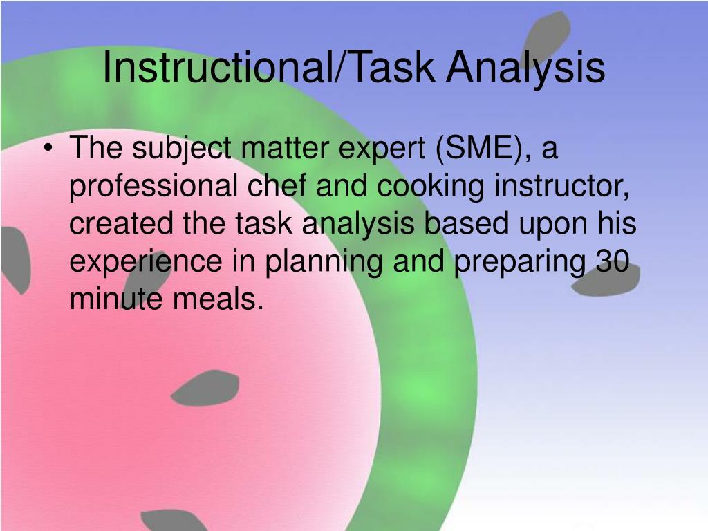 Instructional/Task Analysis