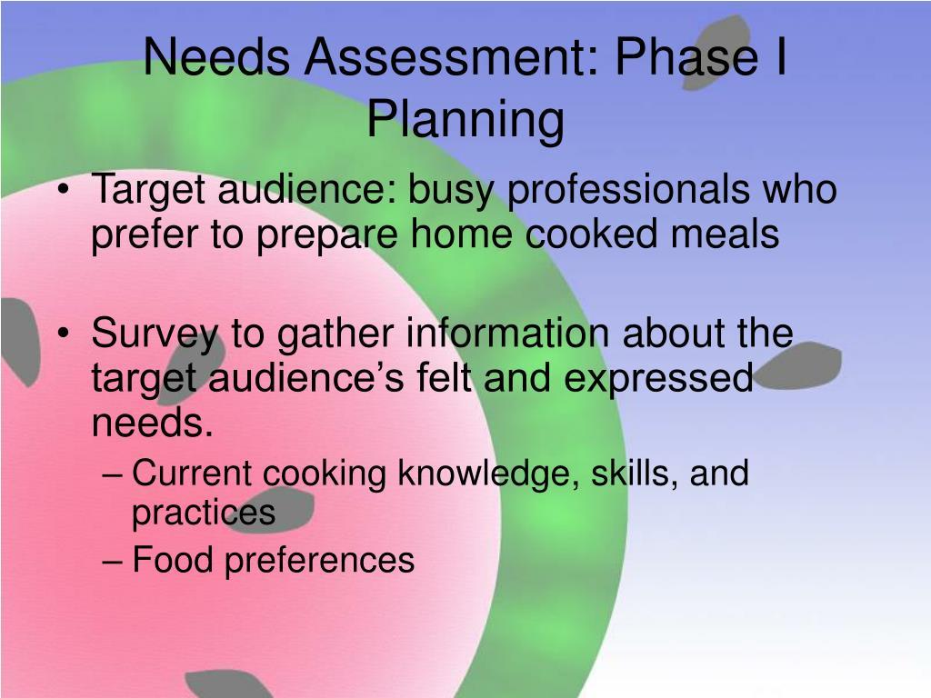 Needs Assessment: Phase I Planning