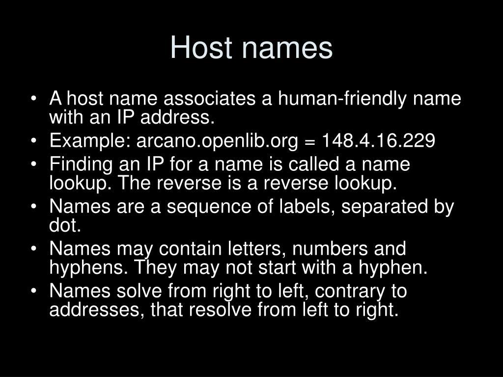 Host names