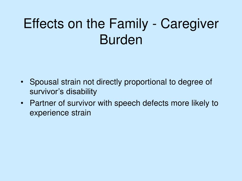 Spousal strain not directly proportional to degree of survivor's disability