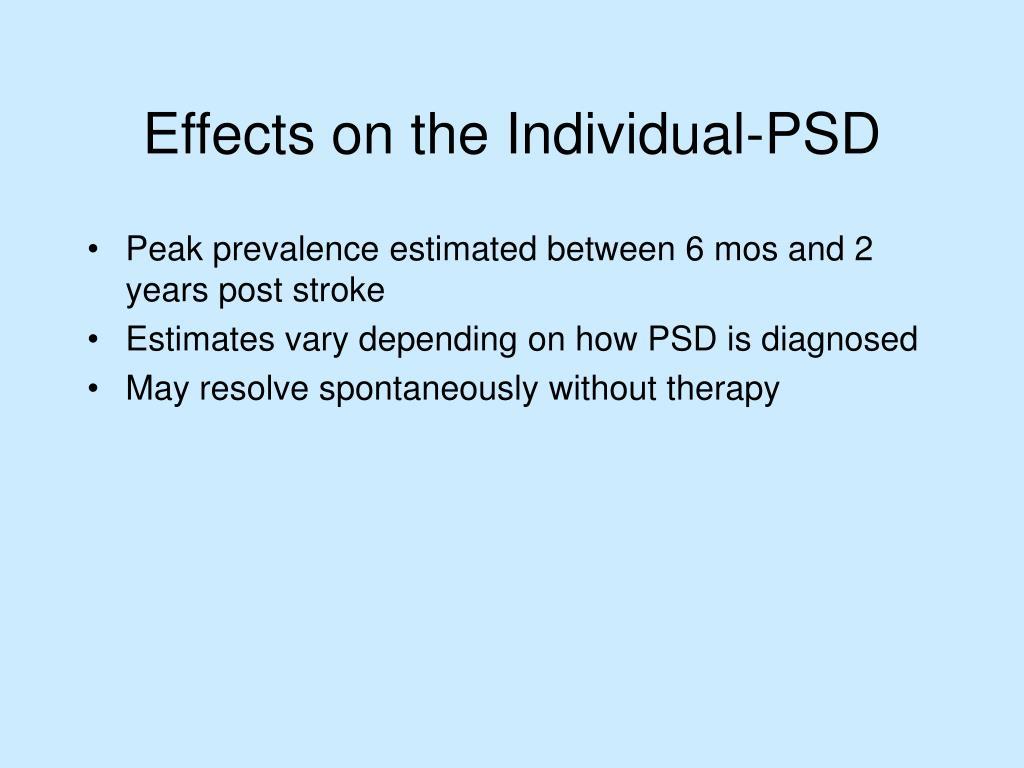 Peak prevalence estimated between 6 mos and 2 years post stroke