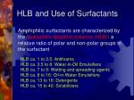 hlb and use of surfactants