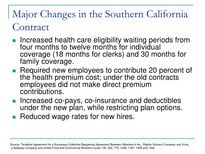 Major changes in the southern california contract
