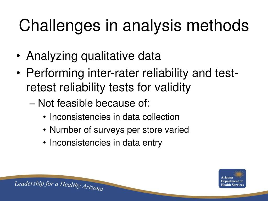 Challenges in analysis methods
