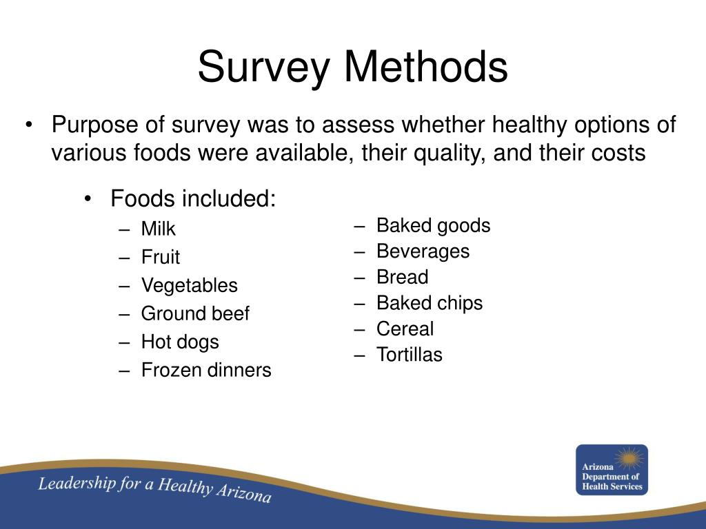 Purpose of survey was to assess whether healthy options of various foods were available, their quality, and their costs