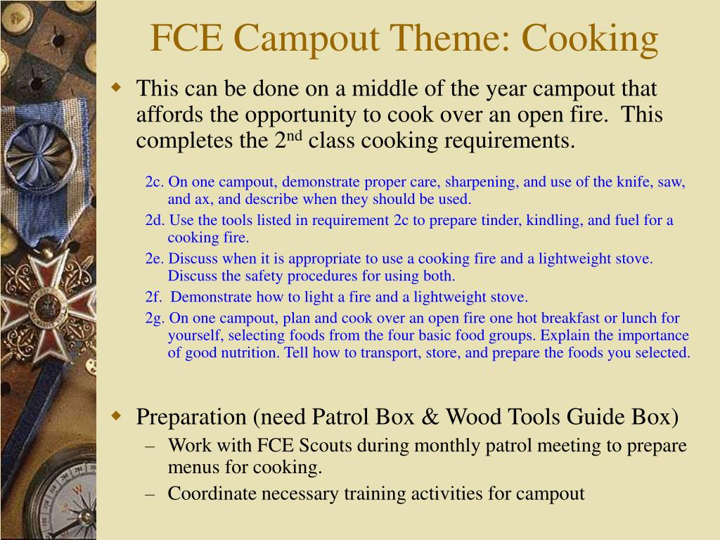 FCE Campout Theme: Cooking