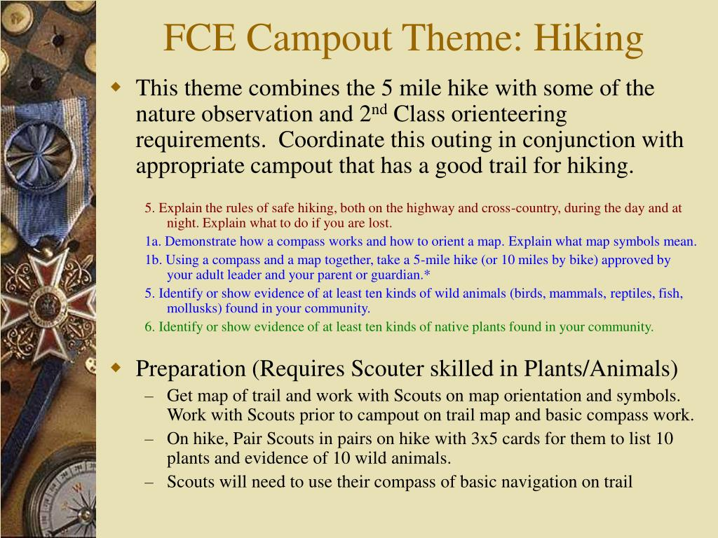 FCE Campout Theme: Hiking