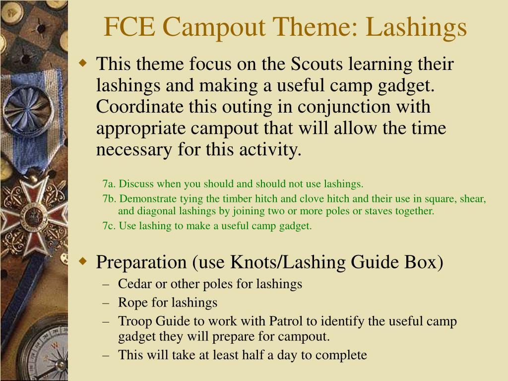 FCE Campout Theme: Lashings