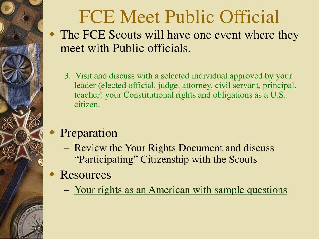 FCE Meet Public Official