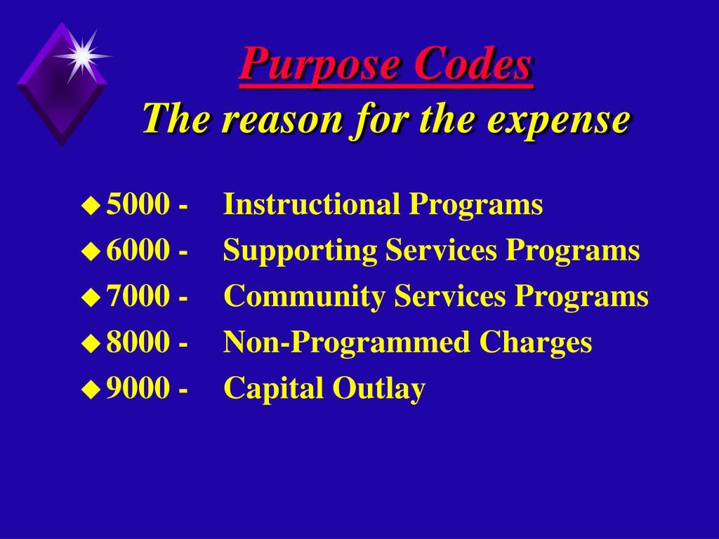 Purpose Codes