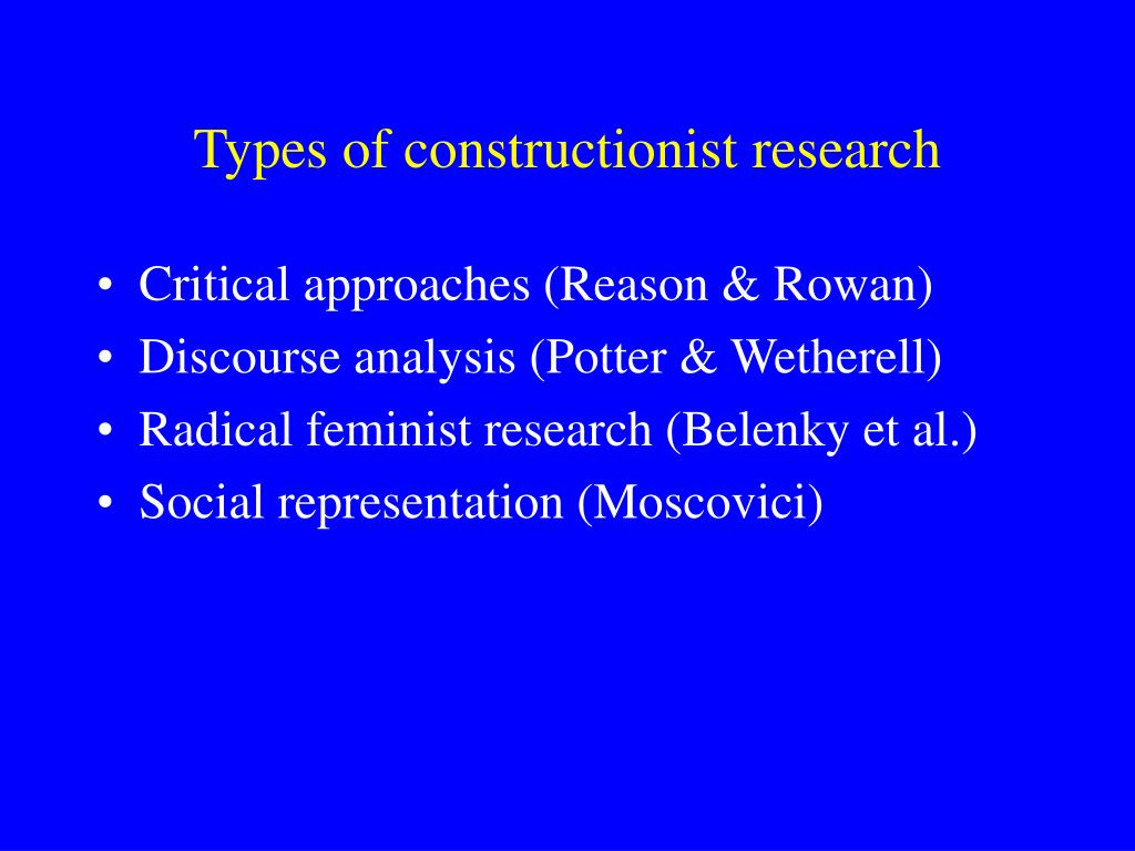 Types of constructionist research