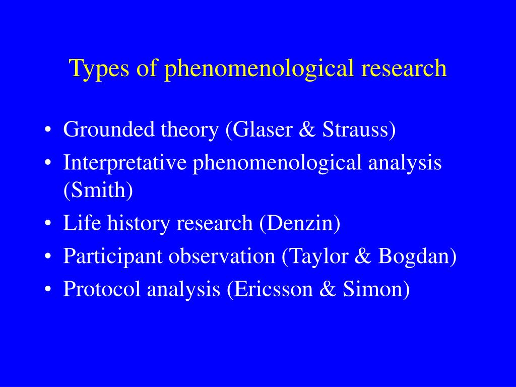 Types of phenomenological research