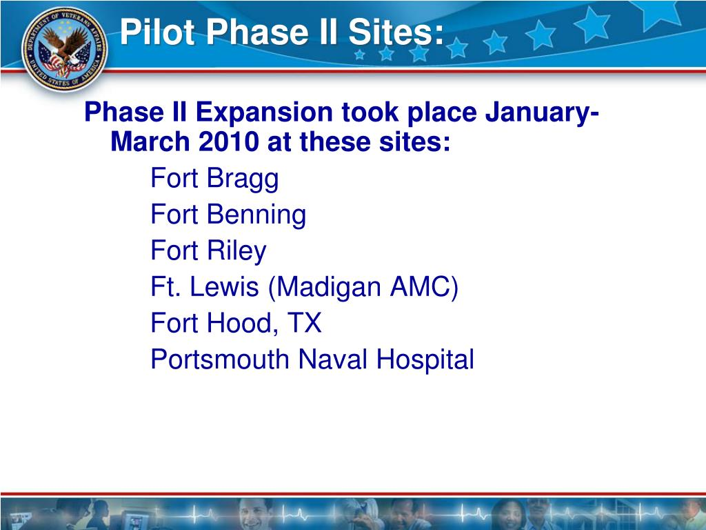Pilot Phase II Sites: