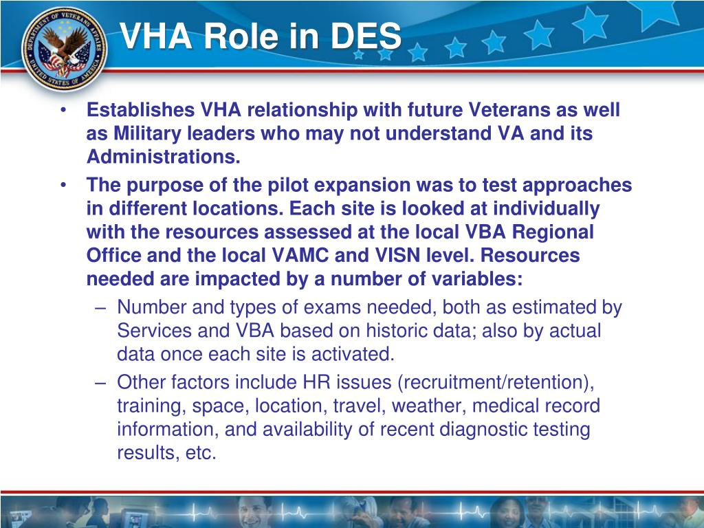 VHA Role in DES