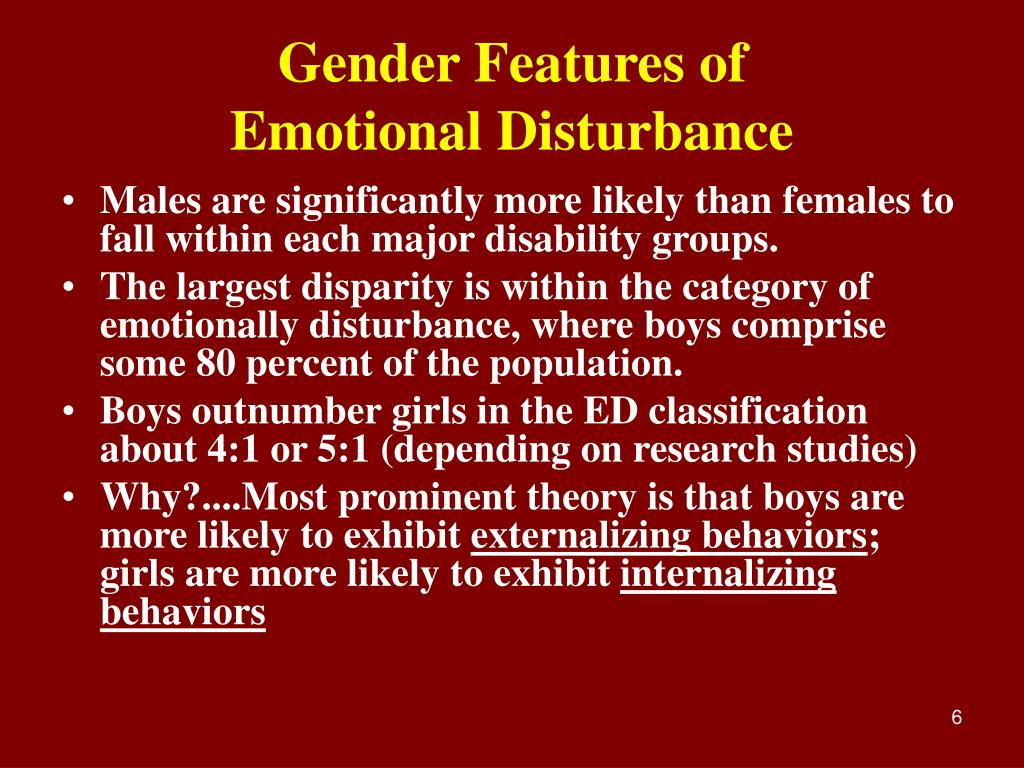 emotional disturbance According to 34 cfr 3008 (4)(i) emotional disturbance means a condition exhibiting one or more of the following characteristics over a long period of time and to a marked degree that adversely.