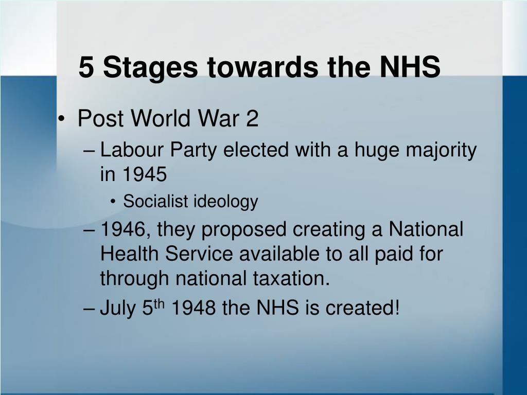 5 Stages towards the NHS