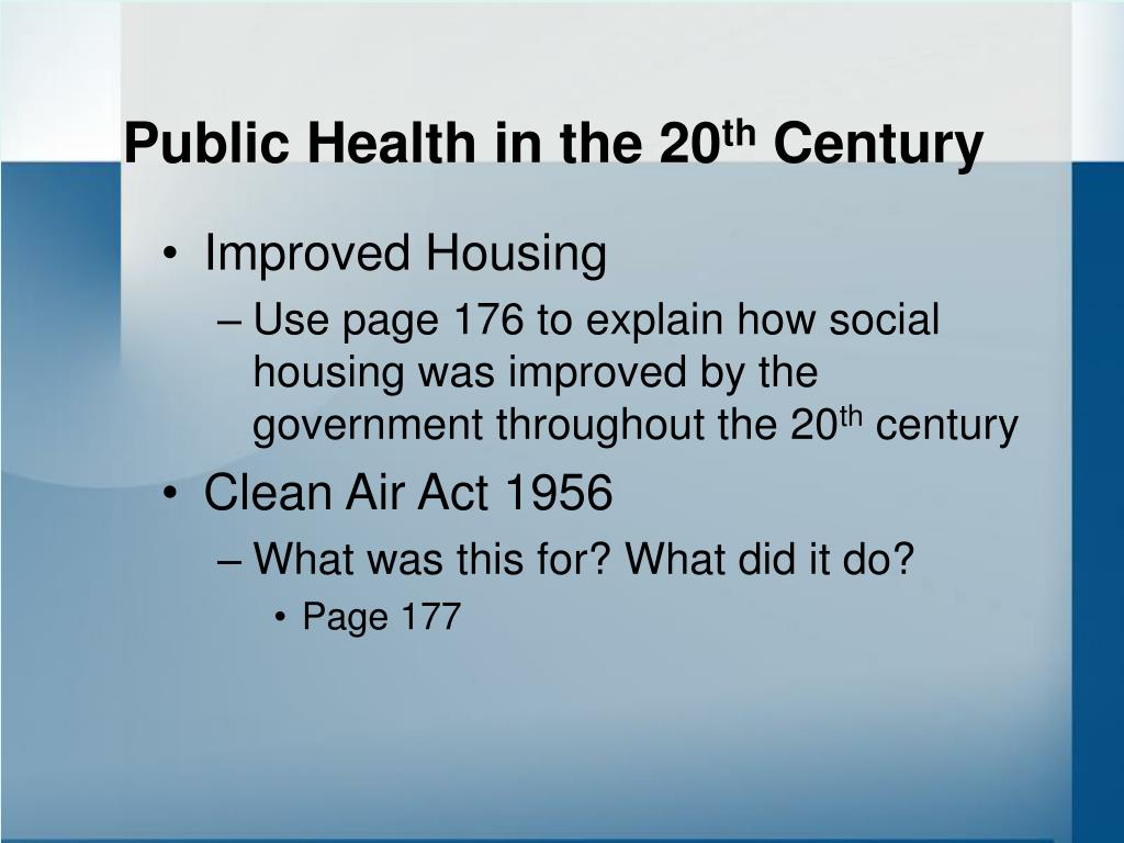 Public Health in the 20