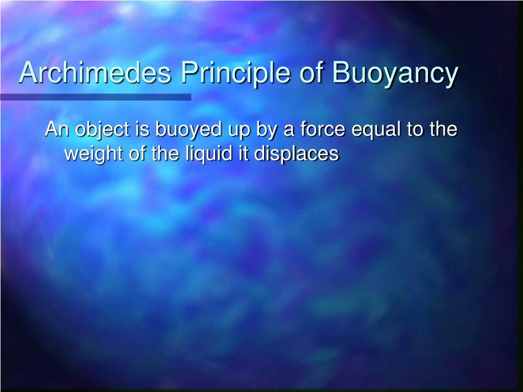 Archimedes Principle of Buoyancy