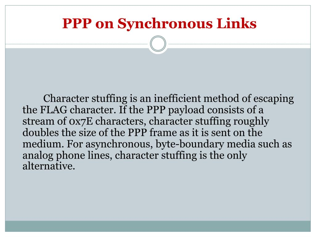 PPP on Synchronous Links