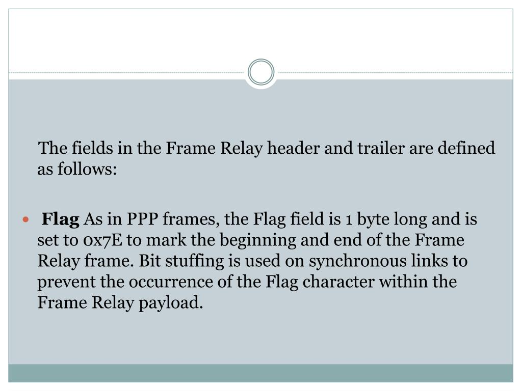 The fields in the Frame Relay header and trailer are defined as follows: