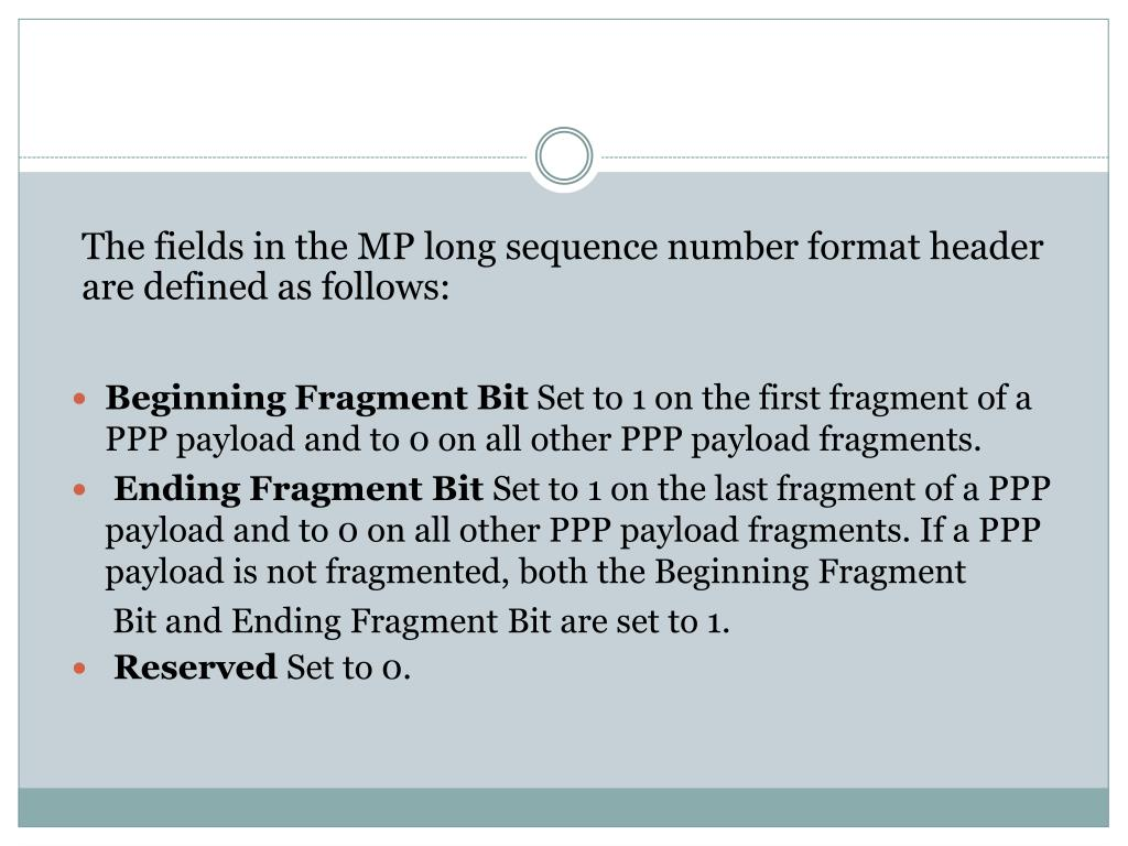 The fields in the MP long sequence number format header are defined as follows: