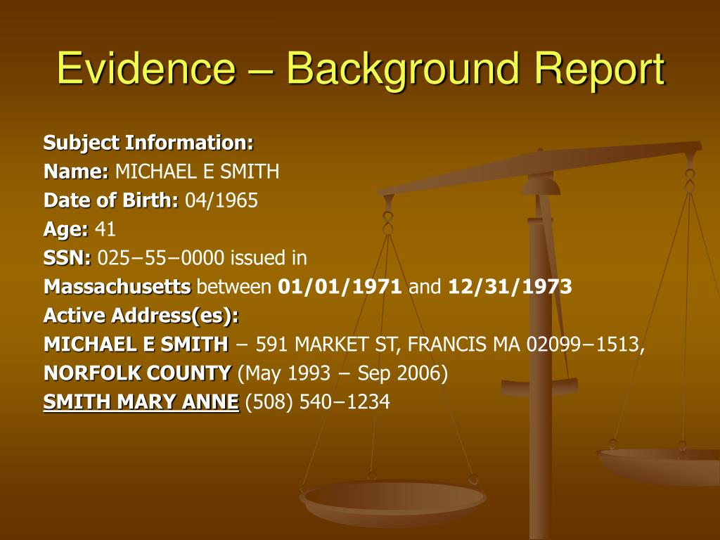 Evidence – Background Report