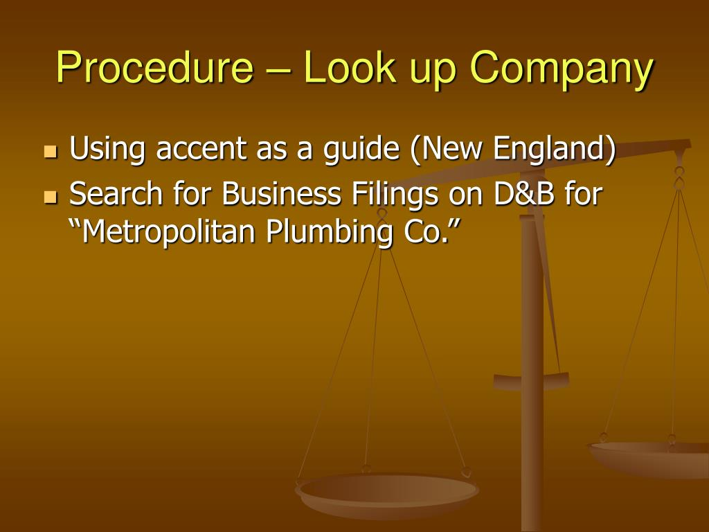 Procedure – Look up Company