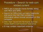 procedure search for web cam related content