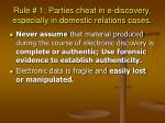 rule 1 parties cheat in e discovery especially in domestic relations cases
