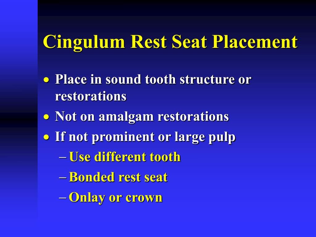 Cingulum Rest Seat Placement