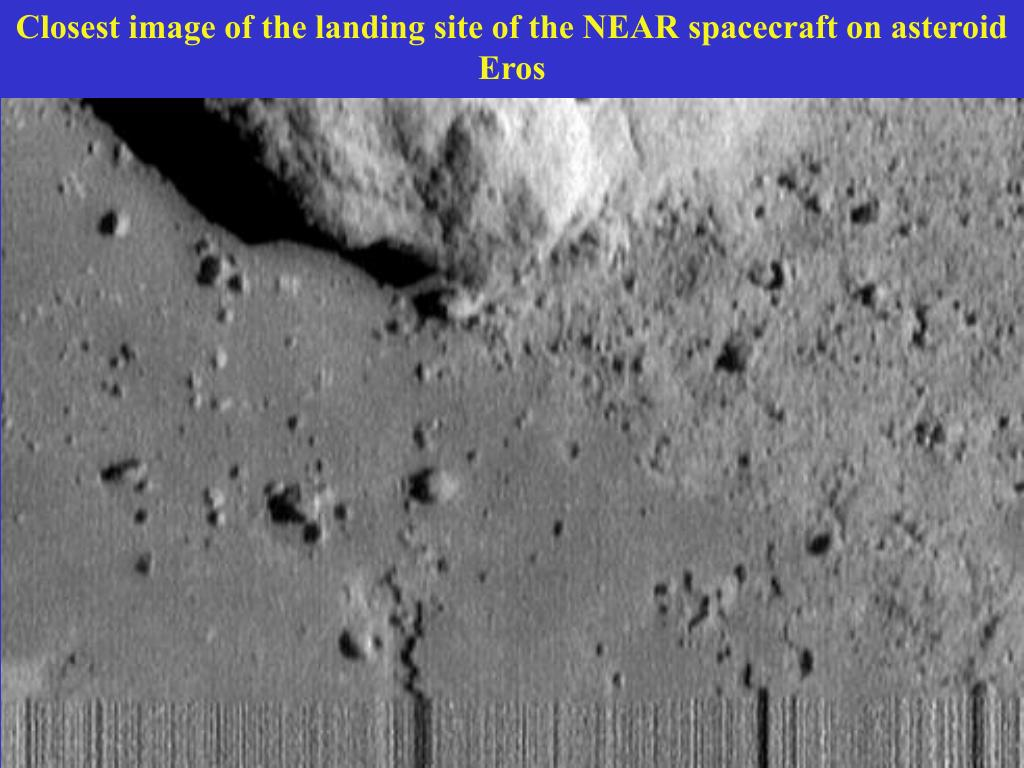 Closest image of the landing site of the NEAR spacecraft on asteroid Eros