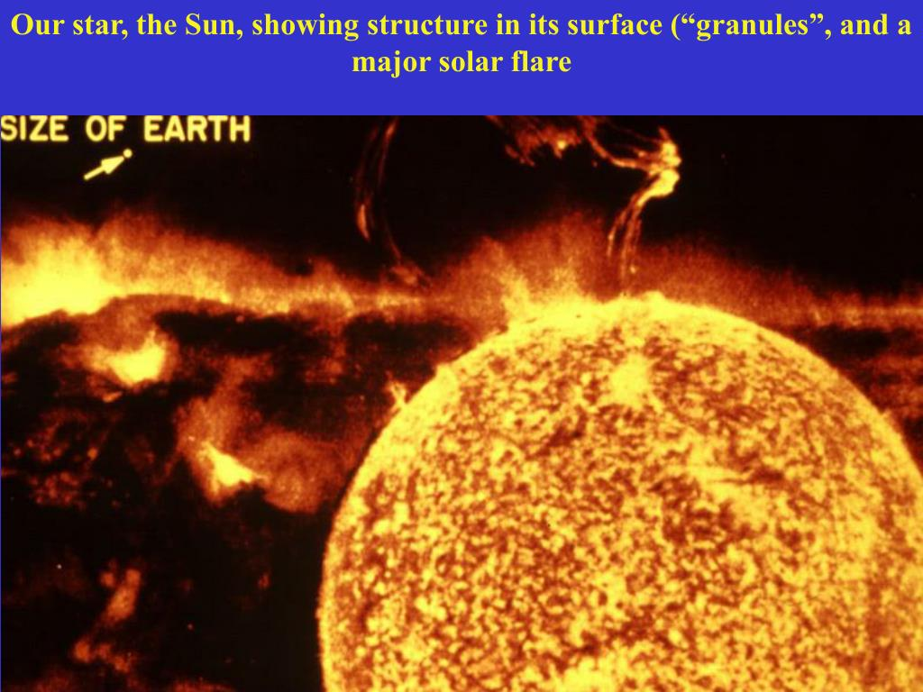 "Our star, the Sun, showing structure in its surface (""granules"", and a major solar flare"