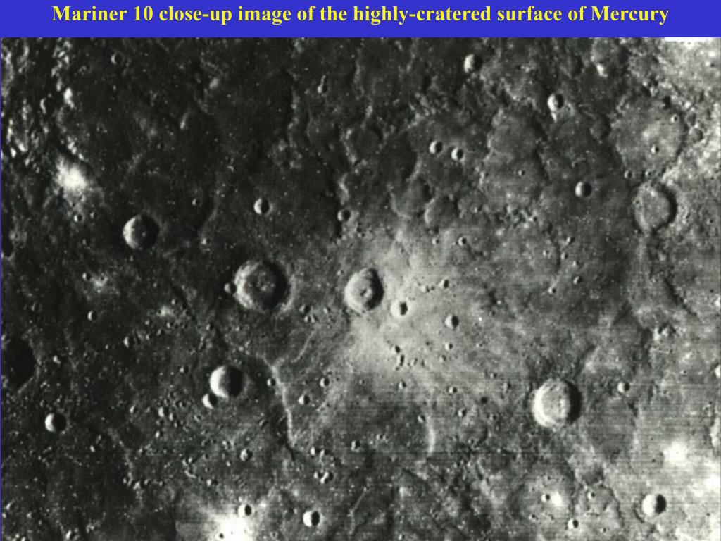 Mariner 10 close-up image of the highly-cratered surface of Mercury